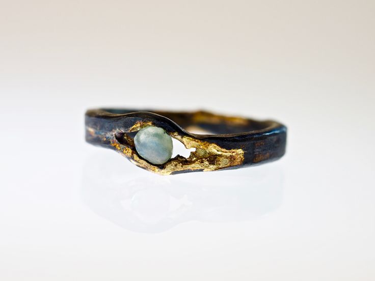 Raw Gemstone Engagement Ring with Montana Sapphire 14K Gold and Sterling Silver