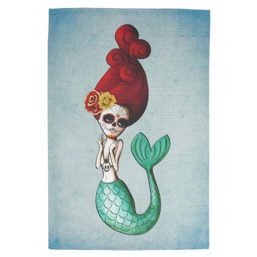 El Dia de Muertos Mermaid Kitchen Towels