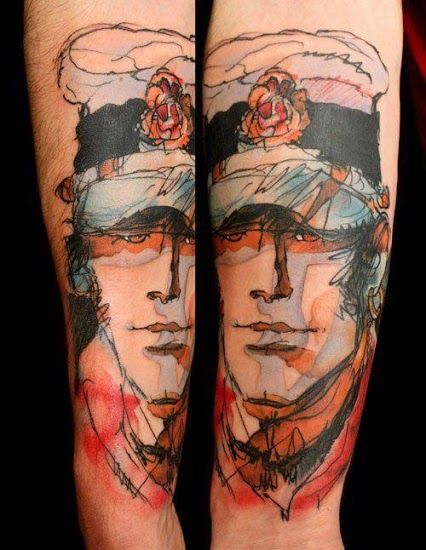 _ corto maltese forearm tattoo _  Love the style of this picture. Reminds me of my personal work, but in tattoo form! Mad props!