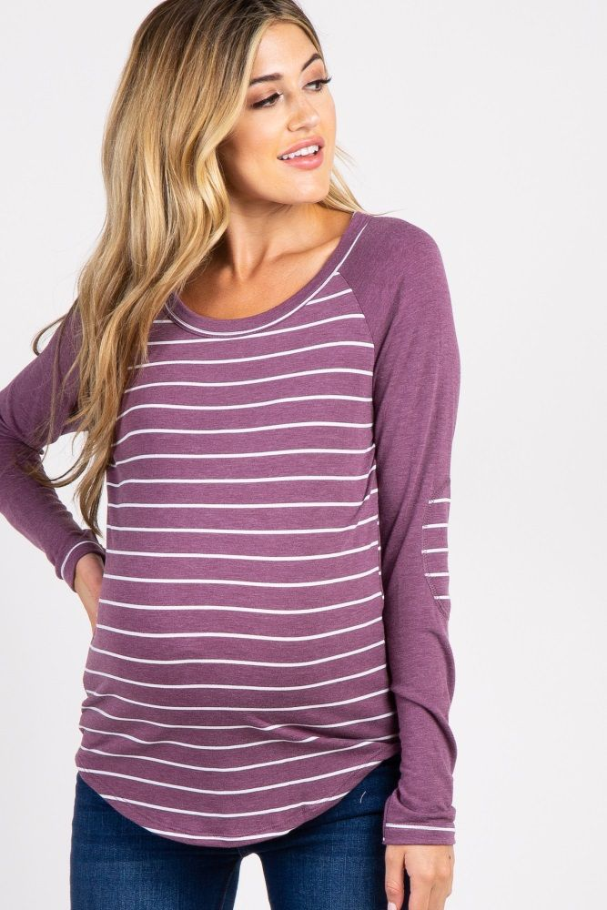 7744e43d07e2a Purple Striped Colorblock Elbow Patch Maternity Top in 2019 | Pink ...