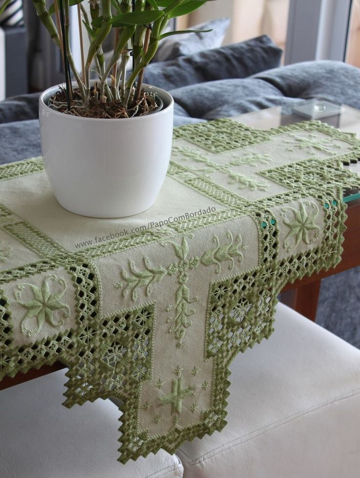 Beautiful green and ecru hardanger and drawn thread table runner.
