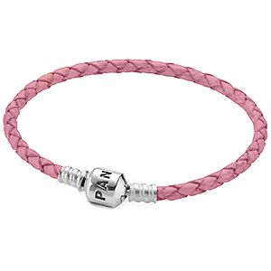 http://mitchumjewelers.com/fine-jewelry/pandora-jewelry-springfield-mo - Pink Leather Pandora bracelet available at Mitchum Jewelers