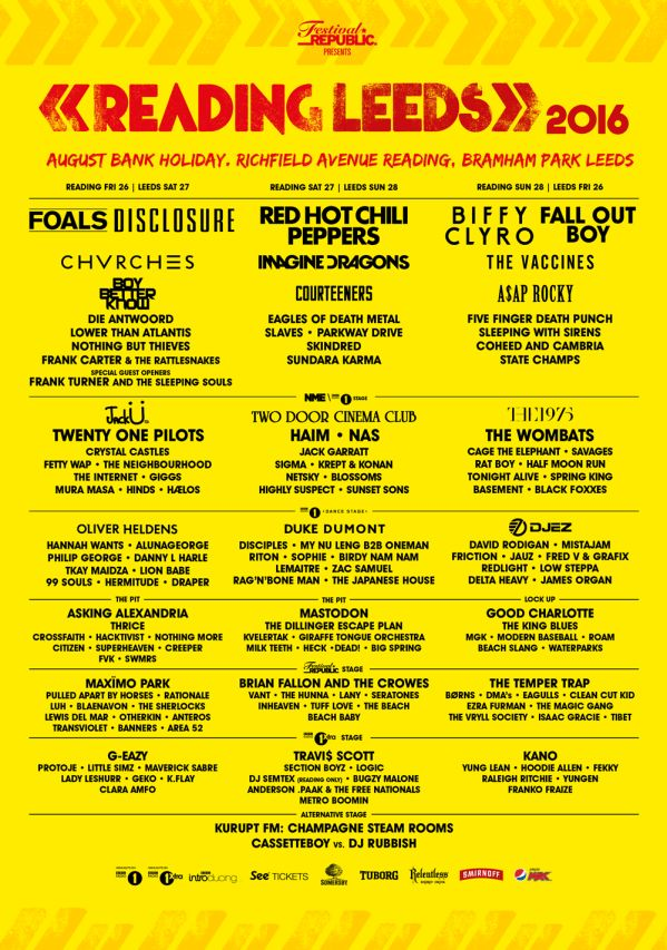 Festivals 2016: Reading and Leeds Festival Preview    An exciting line up for Reading and Leeds 2016 including The Red Hot Chili Peppers, Two Door Cinema Clu...