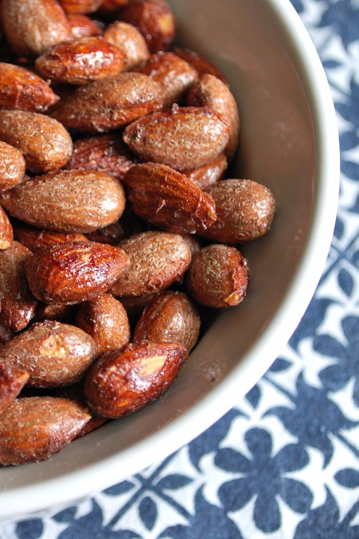 Roasted Maple Cinnamon Almonds: 1 cup unsalted almonds /1 1/2 tbsp pure all natural maple syrup {don't use Aunt Jemina!}/1/2 tsp of ground cinnamon / a pinch of salt.  In a small bowl, combine the maple syrup, cinnamon and pinch of salt with a fork/whisk.  coat Add almonds evenly.  Spread out almonds on a non-stick baking sheet and bake @ 300 for 25 minutes, stirring every ten mins.  Remove &  cool.  Store in an airtight container/plastic