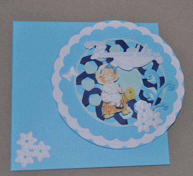 carte bleue ronde félicitation naissance fille : Cartes par l-atelier-de-valphi