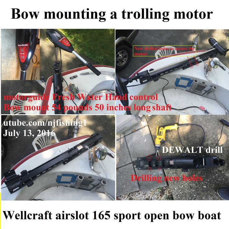 #convert my #bowmount #motorguide #trollingmotor from a #footcontrollled #70lbs thrust to a #54lbs #thrust had to use #dewalt #drill to drill 4 holes to #deadbolt the new mount to add #stability during #trailering