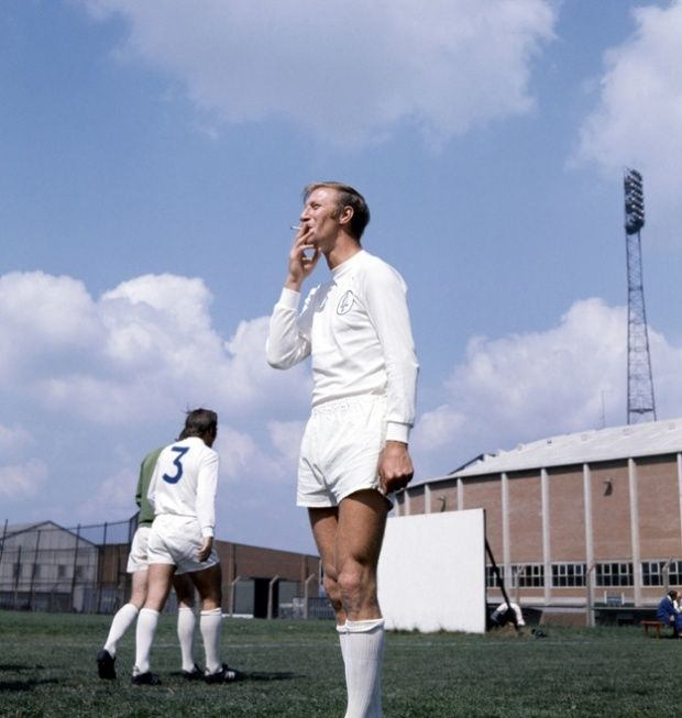 Leeds United's Jack Charlton smoking a cigarette during a training session, August 1970.
