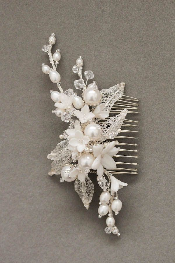 Whimsical in Silver   A pearl wedding headpiece for Renee