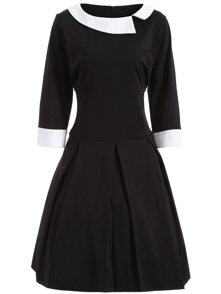 Two Tone Plus Size Vintage Dress in Black | Sammydress.com