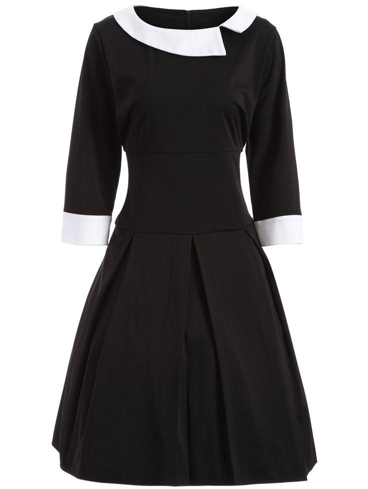 Two Tone Plus Size Vintage Dress in Black   Sammydress.com