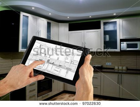 interior layout plan on tablet computer - stock photo