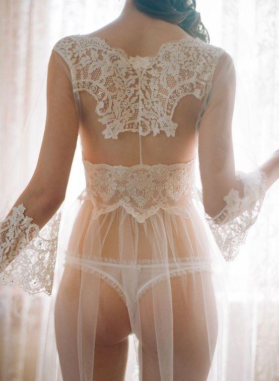 Lingerie. Sheer white robe. Love love love the robe. Bridal lace.