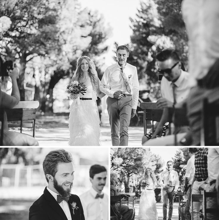 Down the aisle in Nieu-Bethesda #Wedding #Bride #Karoo #BW #SouthAfrica #Nieu-Bethesda #Sarah #Tom #CharlieRay