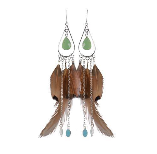 øreringe med fasanfjer og kæderTil disse øreringe er der brugt følgende materialer:  4 stk. fjer af fasan 2 stk. fjer af rød fasankok 6 stk. forsølvede endemuffer 2 stk. mellemled, lang dråbe, forsølvet 2 stk. dråbevedhæng lysgrøn i glas 1 par ørekrog med øje, sterlingsølv 4 stk. kæde á 6cm, forsølvet (24cm) 2 stk. forsølvet blad 2 stk. vedhæng med øje, glas 16 stk. 4mm øskner, forsølvet 1 stk. spidstang 1 stk. fladtang + lim