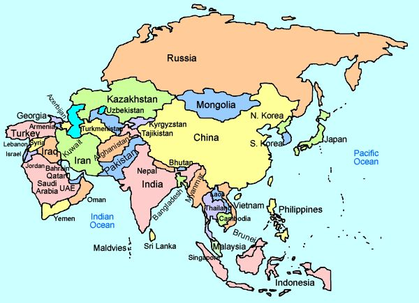 Asia Map With Countries Asia Interactive Map for Kids from Mr. Nussbaum | Asia Educational  Asia Map With Countries