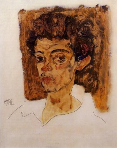 Egon Schiele, Self Portrait with Brown Background, 1912