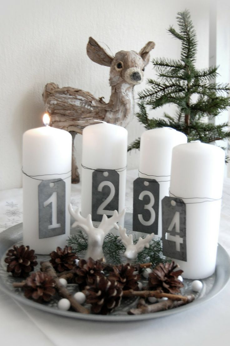 *Advent candles centerpiece - number tags and cones