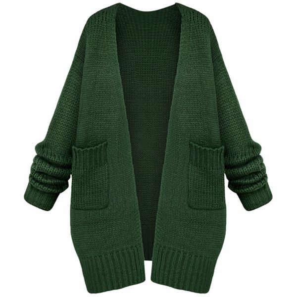 Womens Casual Long Sleeve Cardigan Sweater Coat Green found on Polyvore featuring tops, cardigans, jackets, outerwear, shirts, green, extra long sleeve shirts, green long sleeve shirt, longsleeve shirt and green cardigan