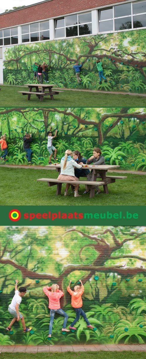 Een prachtige klimmuur op het schoolplein van  bij lagere school 't Grafiekje te Tongerlo. De grepen en de recycling kunststof picknicktafels komen van www.speelplaatsmeubel.be De muurschildering is van Lien Liekens => http://www.lienscreations.com