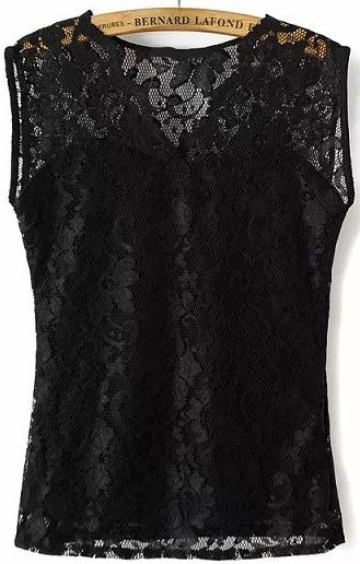 Black V Neck Hollow Lace Blouse 14.33