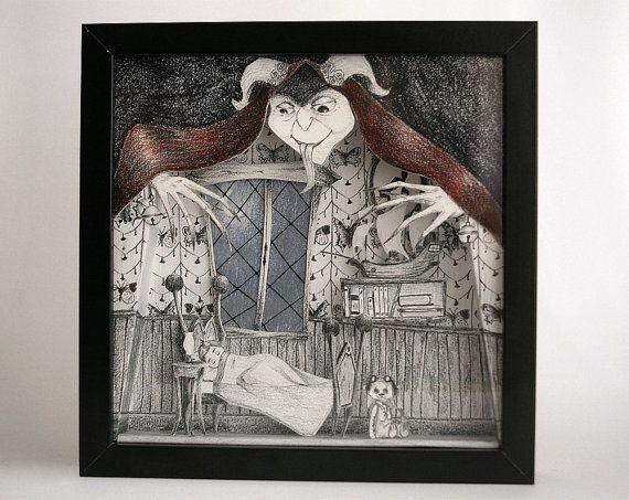 Illustration originale volume croque-mitaine monstre  - Diorama Noir Blanc Rouge Bleu - 3D - Cadre Décoration - OOAK