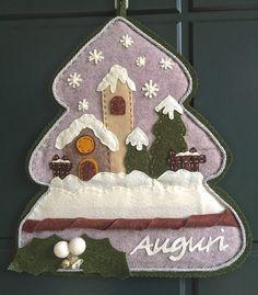 Natale - albero in feltro con paesaggio natalizio