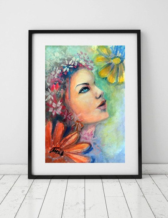 flowers portrait face woman girl Watercolor by artstudioAreti