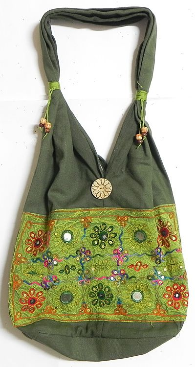 Mirrorwork and Embroidered Dark and Light Green Cotton Bag (Cloth))