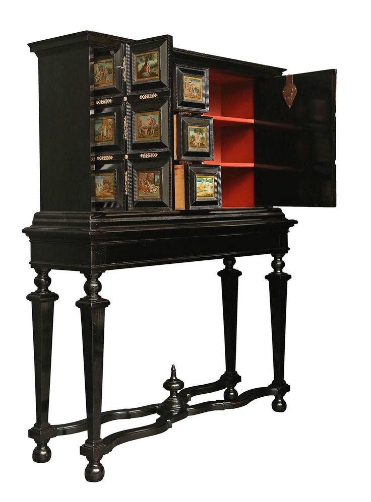 Итальянский 18 век Людовика XIV негр и обратного окрашенный стеклянный шкаф на стенд 5