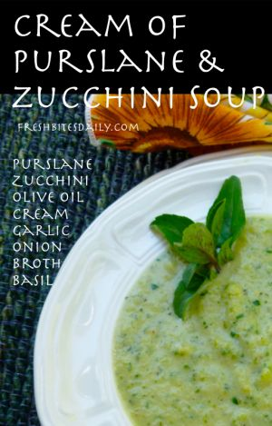 Need veganize-Cream of Purslane and Zucchini Soup at FreshBitesDaily.com