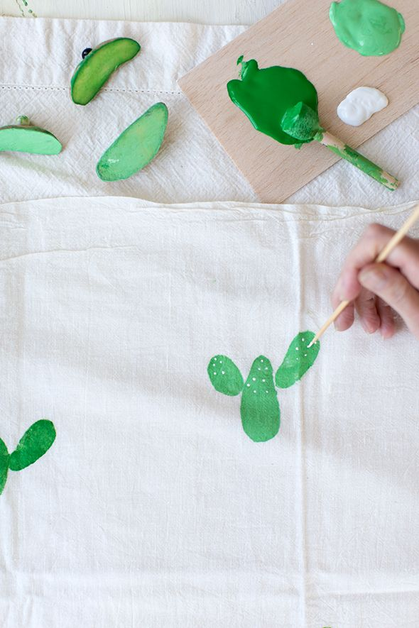 DIY Potato Stamped Cactus Tea Towel - Say YesSay Yes