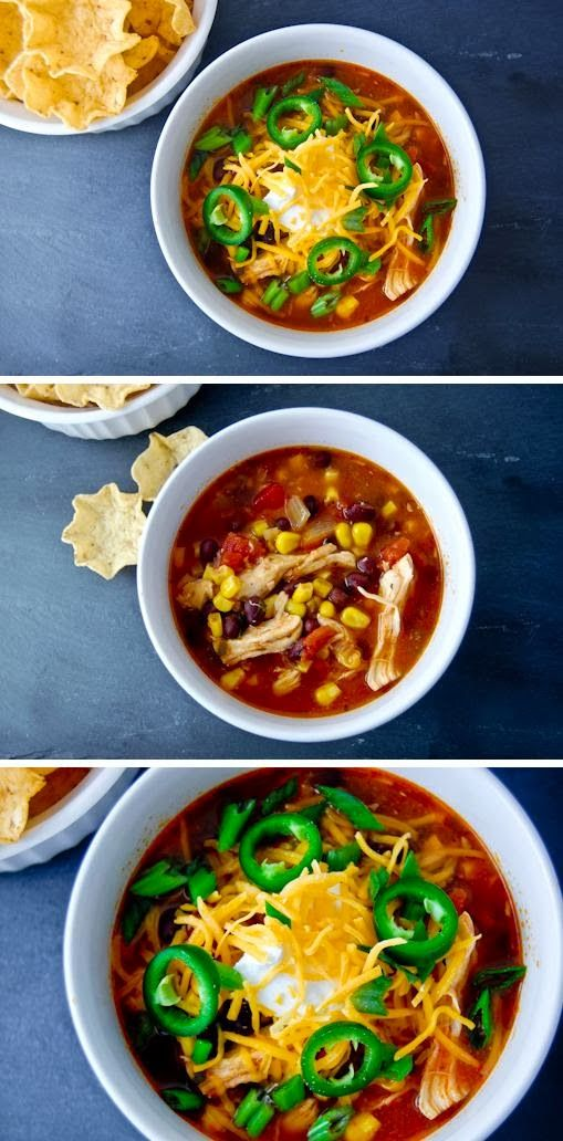 Chicken Enchilada Soup. This was really good. I used rotisserie chicken.
