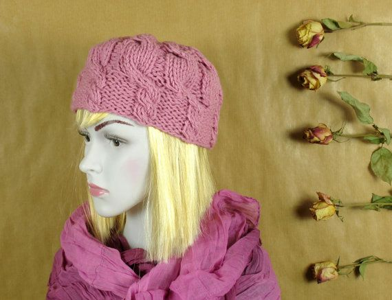 Powder color knit hat,woman hat,light pink hat, winter accessories,Womans spring hat