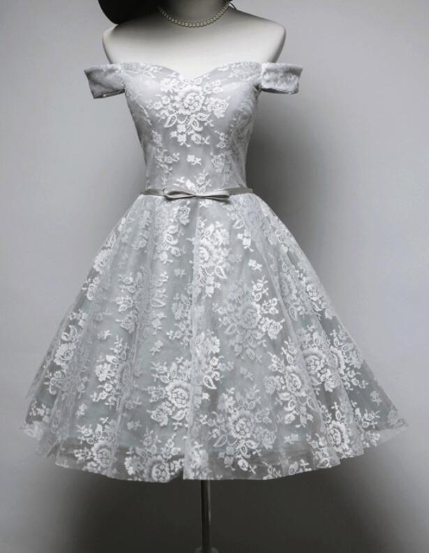 fa27fbe64e5 Beautiful Grey Lace Short Party Dress