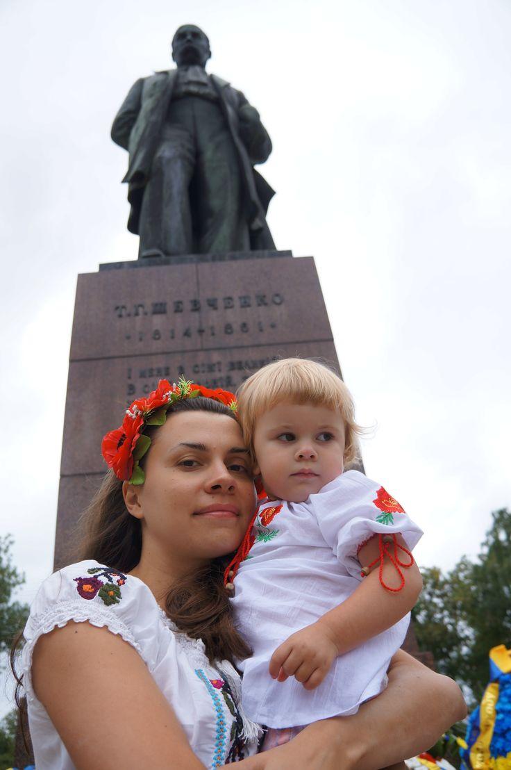 Kateryna and Daria with Taras