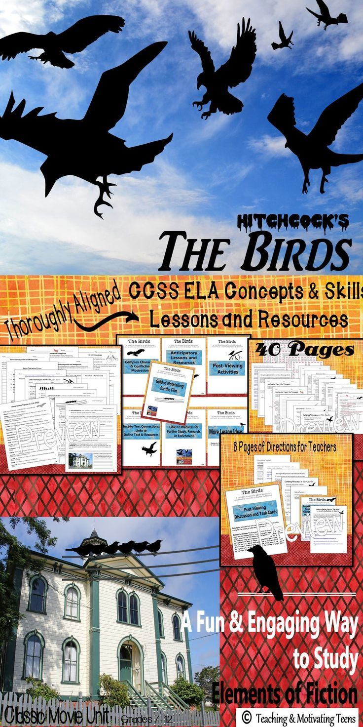 A favorite among students - a fun, engaging, and educational way to learn/review fiction elements. CCSS aligned: Two weeks of lesson material to accompany Hitchcock's classic film, The Birds. This movie is built on basic fiction elements and provides the perfect springboard for studying these concepts. Mini-Poster Anticipatory Guide Vocabulary Guided Notetaking for Film Graphing the Story Structure Discussion/Task Cards Complex Characters Analysis M.C & Short Answer.