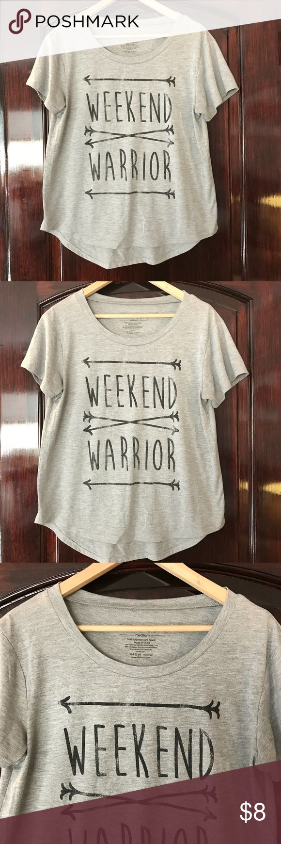 Fifth Sun- Weekend Warrior T-shirt Cute Grey Weekend Warrior T-shirt  No stains and great condition! Soft Polyester/Rayon Blend   Size Medium Fifth Sun Tops Tees - Short Sleeve