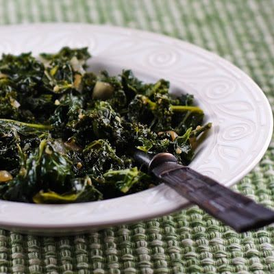 If you're thinking about green food this month, this recipe for Sauteed Kale with Garlic and Onion is really amazing!  (Melting Tuscan Kale) [from KalynsKitchen.com]
