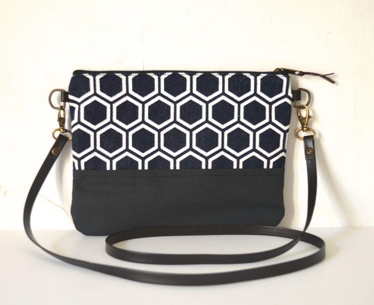 Small crossbody bag, Screenprinted, Geometric pattern crossbody bag, Japanese pattern by UMEHARAKABAN on Etsy