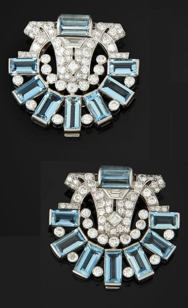 A pair of Art Deco or Art Deco-style platinum, gold, aquamarine and diamond…