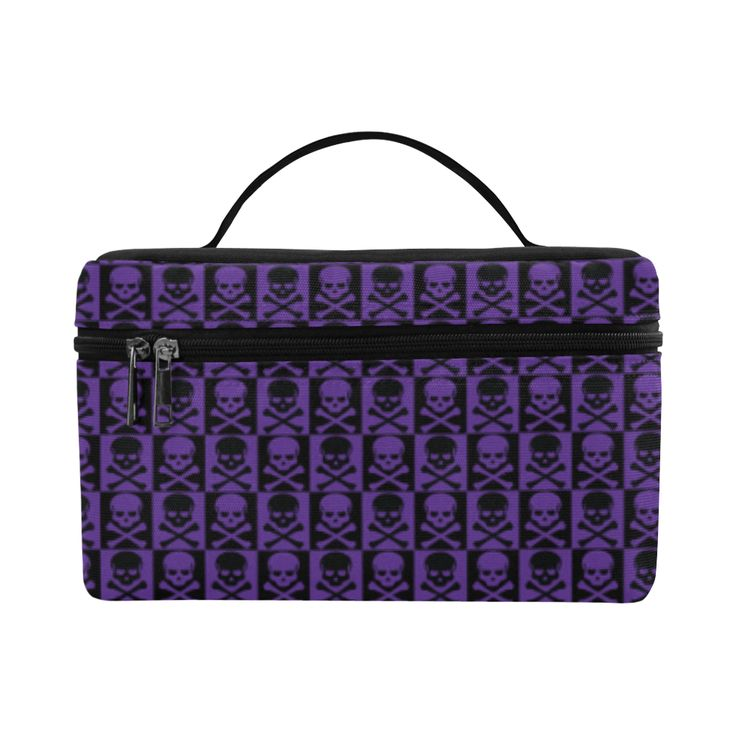 Gothic style Purple and Black Skulls Cosmetic Bag/Large by Scar Design. #toiletrybag #toiletry #cosmeticbag #travelbag #travel #weekendtravelbag #family #onlineshopping #shopping #artsadd #gifts #scardesign #bag #style #fashion #giftsforhim #giftsforher #39 #design #purple #gothic #skull #skullspattern #gothicstyle #pattern #rockstyle #toiletrytravelbag #gothicgifts