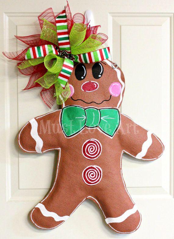 Gingerbread Boy Burlap Door Hanger Christmas by MustLoveArtStudio, $38.00