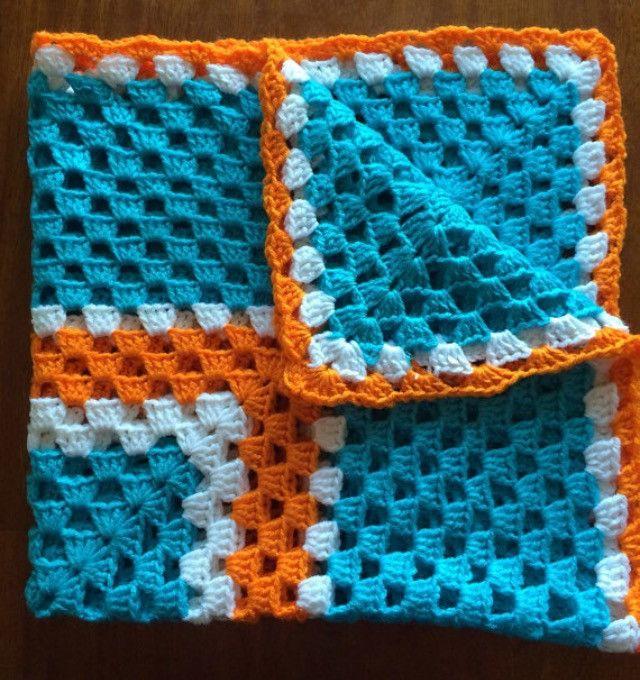 Aqua Orange Baby Blanket - Crochet Granny Square