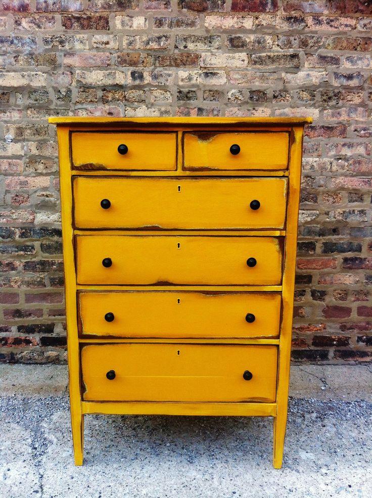 Distressed Vintage Bedroom Inspiration: Vintage Distressed Dresser In Sunny Yellow