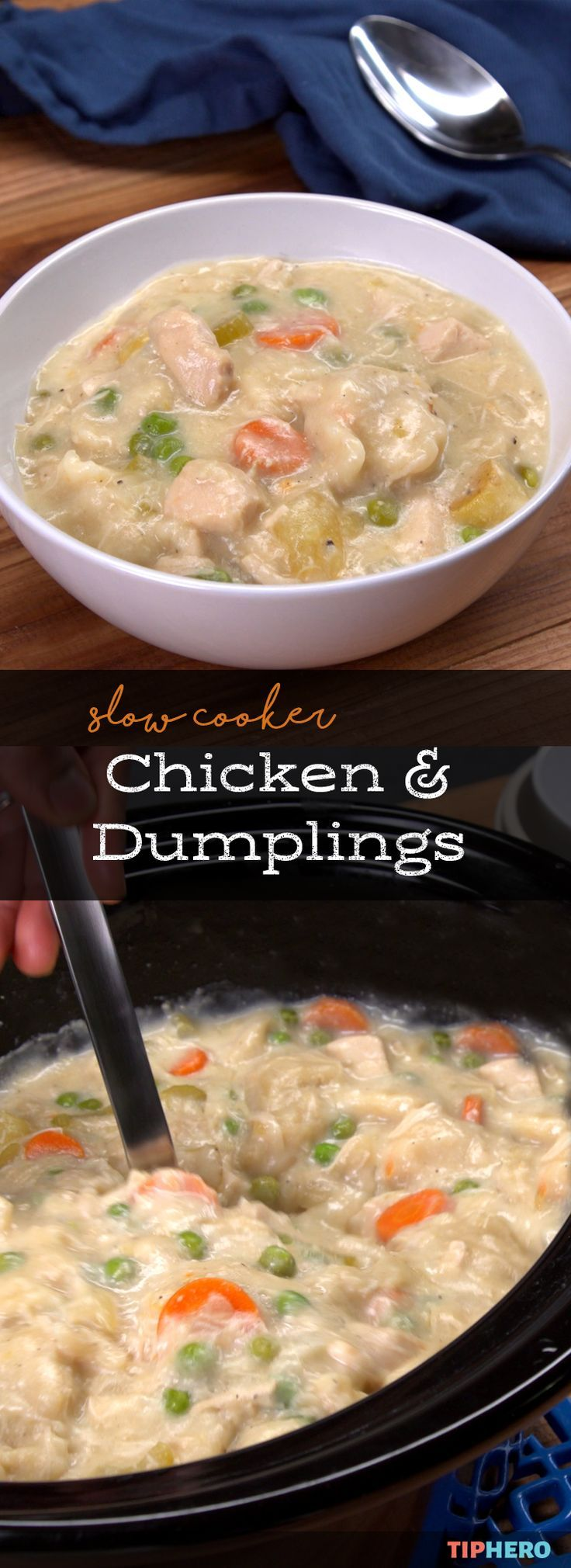 Nothing says comfort food like chicken and dumplings and our slow cooker chicken and dumplings recipe makes it easy to enjoy this family favorite any night of the week. This fool proof recipe features what makes chicken and dumplings so good -- juicy chicken, hearty veggies, rich gravy, and doughy dumplings to soak it all up. Click for the recipe and see how it's made.  #familydinner #easymeals