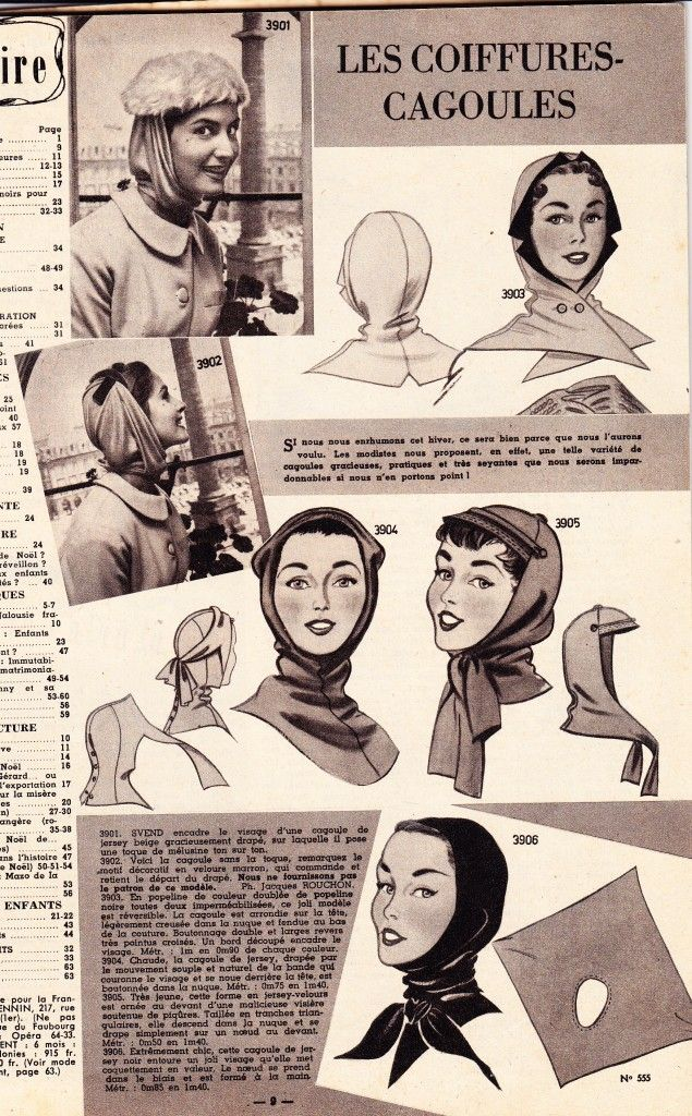 http://fabulousfrenchvintagepattern.com   Amazing 1950s french sewing pattern for cagoule hat