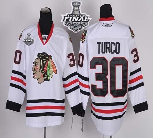 b2ea0d3c4637 ... Embroidered Black NHL Jersey. Blackhawks 30 Marty Turco White With  Stanley Chicago Blackhawks 2 KEITH White 2013 Stanley Cup Champions Patch  NHL Jerseys ...