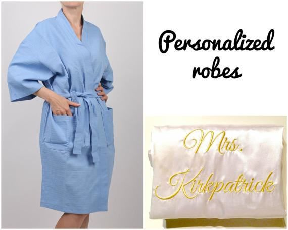 Comfortable waffle bridesmaid robes at a reasonable price:  • 9 vivid colors including white, beige, rose pink, light blue, lavender, red, navy, black.  • Worldwide shipping for as low as $6.90 for the first robe + $4 for each additional.  • Personalization starting at $5 (initial), $7.5 (monogram or name in front), $10 (name or title on the back).  • 2 patch pockets, 3/4 length sleeves, long sash.  • High-quality 100% cotton, soft and machine washable (delicate).  • Production time is 1...