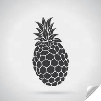 Naklejka - Ilustracji wektorowych. Sylwetka tropikalnego owocu ananasa. Zdrowe wegetariańskie jedzenie. Szablon lub szablon. Ozdoby na kartki, tapety, logo