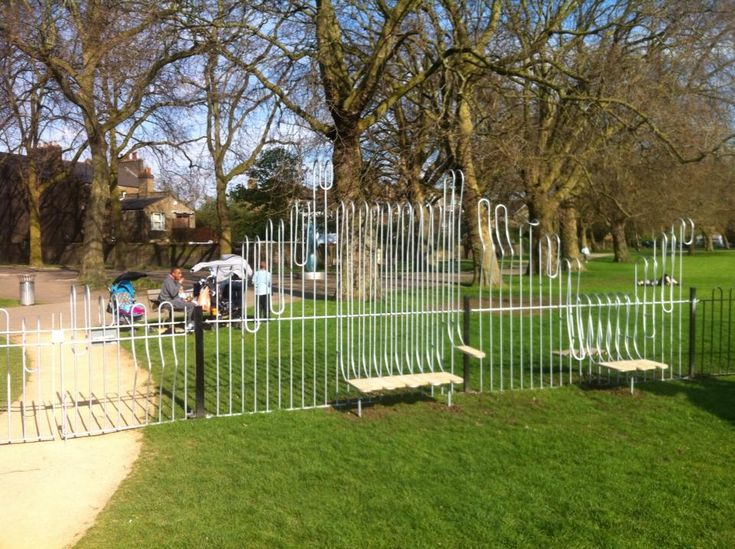 Playful Playground Fence Superblue Deptford Park London 2013